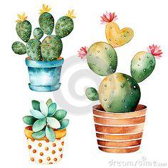 Installatie Van De Waterverf De Met De Hand Geschilderde Cactus En Succulente Installatie In Pot - Downloaden van meer dan 48 Miljoen hoge kwaliteit stock foto's, Beelden, Vectoren. Schrijf vandaag GRATIS in. Afbeelding: 72803126