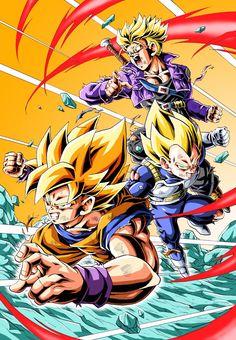 Goku, Vegeta and Trunks Dragon Ball Z, Vegeta And Trunks, Super Manga, Manga Dragon, Ball Drawing, Japanese Dragon, Animes Wallpapers, Fan Art, Son Goku