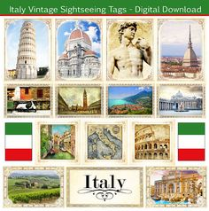Italy Vintage Tags. Embellishments. Digital Scrapbooking. Instant Download. on Etsy, $1.50