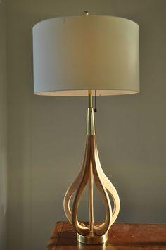 Danish Mid Century White Oak Vintage Eames 'LARJOBBE' 60's 70's Light Lamp
