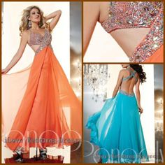 Wholesale Prom Dresses - Buy Sexy Open Criss Cross Straps Crystals Beaded Floor Length Prom Dresses Orange Light Blue Chiffon Sequins Ruffle Party Gowns Exquisite YDF20, $158.0 | DHgate
