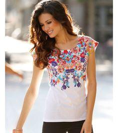 Camiseta mujer manga corta estampada flores Mujer LX Venca