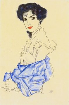 Egon Schiele: Portrait of Elizabeth Lederer, Medium unknown. Expressionism.
