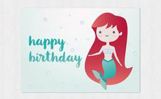 Little Mermaid kawaii Happy birthday's card PDF DIY di Cloudreams