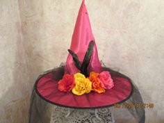 Excited to share this item from my #etsy shop: LAST ONE! Hot Pink Witch Hat - Day Of The Dead Witch Hat - Costume Witch Hat - Adult Witch Hat