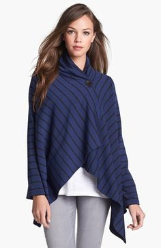 Bobeau Asymmetrical Fleece Wrap Cardigan (Regular & Petite) | Nordstrom