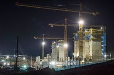 The construction site of a new stadium, Itaquerao, which will be used for the opening match of the 2014 World Cup is illuminated during the night with 800 days remaining to go, in Sao Paulo on April 3, 2012.