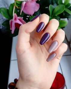 Perfect perfection #nails #instanails #semilac #violet #dark #gray #stone  #beauty #fashion #style