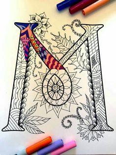 Harrington Font – Printable Zentangle Alphabet & Number Coloring Pages Doodles Zentangles, Zentangle Patterns, Zen Doodle, Doodle Art, Vintage Diy, Doodle Drawings, Letter Art, Coloring Pages, Art Projects