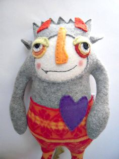 Monster Stuffed Animal Upcycled Wool Striped by sweetpoppycat