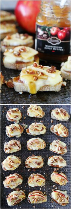 Brie, Apple, and Honey Crostini Recipe on twopeasandtheirpod.com This appetizer can be made in 15 minutes and is a real crowd pleaser! Add it to your holiday menu now!