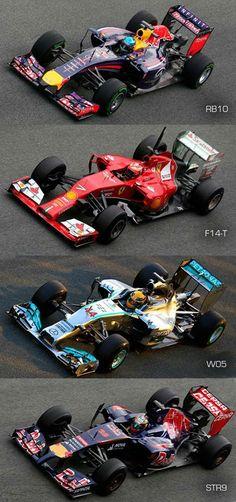 Bolides 2014:Red Bull/Ferrari/Mercedes/Toro Rosso.