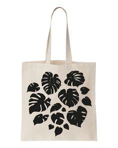 Tote bag Monstera en coton sérigraphié par Oelwein sur Etsy