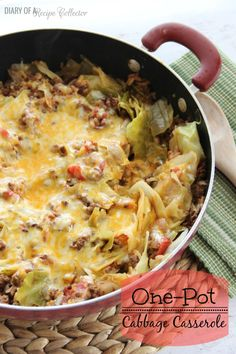 One pot Cabbage casserole with ground beef or turkey, onion, tomatoes, cabbage and cheese
