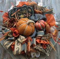 Fall Wreath Fall Burlap Wreath Fall Door Fall by BaBamWreaths Thanksgiving Wreaths, Autumn Wreaths, Holiday Wreaths, Wreath Fall, Thanksgiving Cookies, Halloween Wreaths, Wreaths And Garlands, Deco Mesh Wreaths, Burlap Wreaths