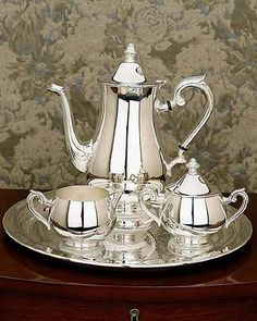 "Silver Tea Service Set, Worthy Luxury . . . Reminds Me of My Mother's Formal Set, Brings Back Great Memories of My Elegant ""Social Butterfly"" Mom ♥ ༻"