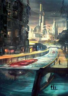 future, city, futuristic, Kuningan City by on DeviantArt Fantasy City, Fantasy Places, Sci Fi Fantasy, Fantasy World, Cyberpunk City, Futuristic City, Futuristic Architecture, Futuristic Technology, Architecture Design
