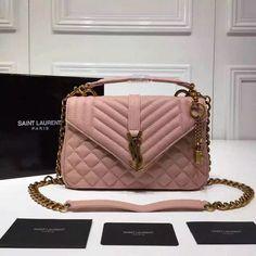 Autumn-Winter Collection 2016-2017-Saint Laurent Medium Monogram Satchel in Pink Mixed Matelasse Leather