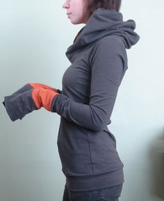 In love with this top: extra long sleeved hooded top Cement Grey with Rust by joclothing, $70.00