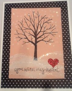 Sheltering Tree - Stampin' Up Stacked with love DSP paper stack, red glimmer paper, black StazOn, classic white ink, dazzling details. On Blushing Bride and Whisper White cardstock