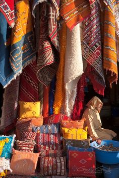 Rugs for sale in the Marrakech souq