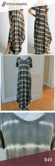 Tie dye maxi dress in olive green new with pockets Sorry, NO TRADES  Price firm unless bundled   Save money and bundle! Save 10 percent on any bundle of 2 or more items! Sofi + Sebastien  Dresses Maxi