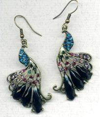 Gorgeous Peacock Crystal CZ Bronze Earrings $14.99