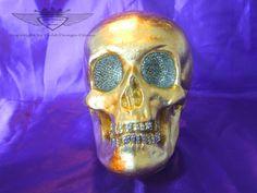 Dekoration, Skull, Schädel, Totenkopf, Vergoldet, Handarbeit, Art Deko,Blattgold