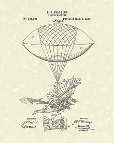 Flying Machine Spalding 1889 Patent Art #patentart