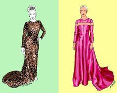 Zwei Abendkleider, zwei Stil-Richtungen: einmal kurvige Sexbombe, einmal dezente Verführerin - beide arbeiten mit schlichten Schnitten und raffinierten Details. Mehr über die Fashion-Tricks die beiden Stars erfahren Sie auf dem Blog der Modeflüsterin: www.modefluesterin.de