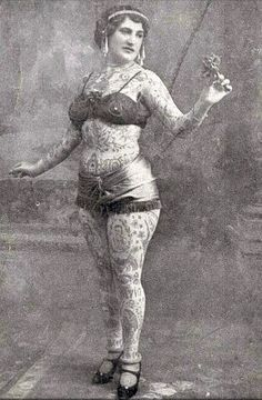 Vintage.  Tattooed lady.