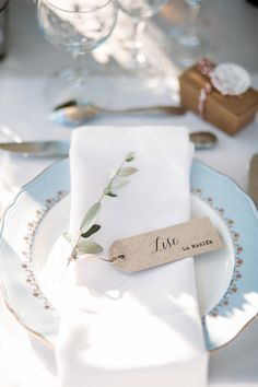 Simple place card tags, delicate white and blue china. A collection of the dreamiest and most unique winter wedding ideas you can steal for those planning to tie the knot during the colder season, Wedding Place Settings, Wedding Place Cards, Wedding Menu, Diy Wedding, Wedding Ideas, Wedding Bouquets, Wedding Flowers, Vintage Winter Weddings, Provence Wedding