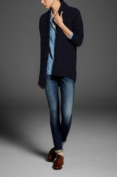 Cardigan With Basket Weave Knitted Front  by Massimo Dutti