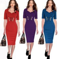 HOT Red/Blue/Purple Women Midi Bodycon dress High Waist Party Dress Sheath bodycon dress OL Business Dress plus size S-2XL