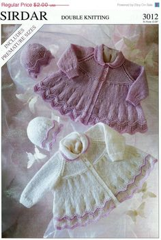 Summer Discount PDF - DK 8ply Matinee Jacket & Hat 12-20ins - Sirdar 3012 - Vintage Style Baby Knitting Patterns