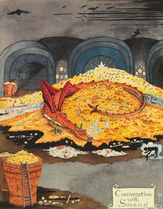 JRR Tolkien, Conversation with Smaug, a watercolor illustrating a scene from The Hobbit. Courtesy of the Tolkien Estate. 'Lord of the Rings' Author JRR Tolkien's Fantastical Artworks Are Now Being Shown for the First Time Jrr Tolkien, Fantasy Magic, Fantasy Art, Gandalf, Legolas, Lotr, Tolkien Drawings, Demon Dragon, Smaug Dragon