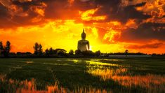 The Big Golden Buddha on sunrise at Wat Muang, Ang Thong, Thailand Lord Buddha Wallpapers, Sun Background, Gold Skies, Golden Buddha, Religious Paintings, Healing Meditation, Monument Valley, Cool Pictures, Sunrise