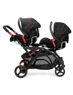 The Contours Options Elite Tandem Stroller can accommodate 2 infant car seats!  The adapter is compatible with over 20 different car seats on the market and is perfect for twins.  This stroller includes on infant car seat adapter and a second is available for purchase as an accessory!  #twins #doublestroller #tandemstroller #stroller
