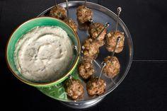 Lamb Meatballs with Lemon-Cumin Yogurt:  spiced with cinnamon, cumin, and coriander + served with a minty yogurt dipping sauce