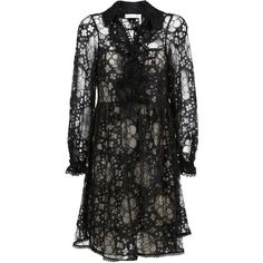 Chlo? Lace Skater Dress ($2,784) ❤ liked on Polyvore featuring dresses, black, lace skater dress, flouncy dress, frilly dresses, long-sleeve lace dresses and long sleeve flounce dress