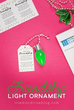 Follow these easy instructions to make this adorable Friendship Light Ornament! Two different types of ornaments and labels included. Christmas Craft Projects, Fun Projects, Christmas Time, Free Printable Tags, Free Printables, Friendship Ornaments, Craft Show Ideas, Diy Ideas, Clear Ornaments