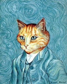 a combination of orange cat and Van Gogh I Love Cats, Crazy Cats, Cool Cats, Arte Van Gogh, Image Chat, Anime Cat, Cat Drawing, Old Art, Pet Portraits