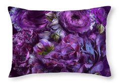 Peonies In Purples decorator throw pillow featuring the art of Carol Cavalaris.