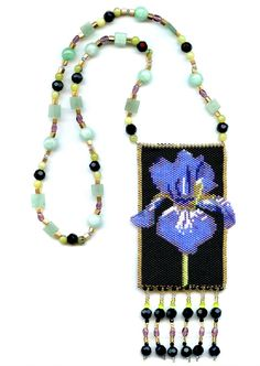 Iris Flower Beaded Amulet Bag Necklace | Flickr - Photo Sharing!