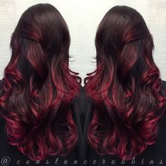 Dark violet red and magenta balayage ombré hair by Constance Robbins