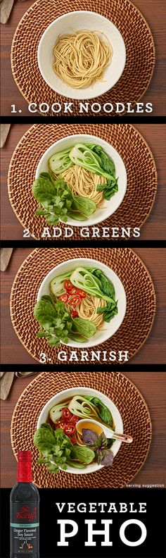 Cozy soup for a cool fall day.   Vegetable Pho   Vegetarian   Easy Asian Recipe   Soup   Fall   HOUSE OF TSANG® Brand   Noodles   Rice  