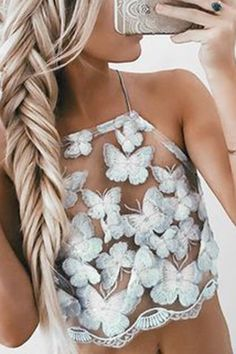 Butterfly Embroidery Sexy Halter Crop Top - US$17.95 -YOINS