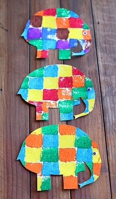 Sponge Painted Art Activity for Kids: Elmer the Elephant~ Buggy and Buddy