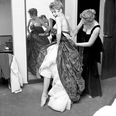 Brigitte Bardot wearing a Christian Dior dress for a gala in Munich, 1957