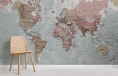 Quality Classic World Map Mural, custom made to suit your wall size by the UK's for wall murals. Custom design service and express delivery available. World Map Mural, World Map Wallpaper, Wall Wallpaper, Classic Wallpaper, Estilo Retro, Service Design, Wall Murals, Wonderland, Custom Design